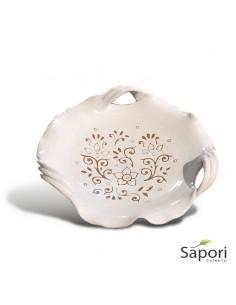 Centrotavola con tre manici in Terracotta Ceramica bianca decoro a incisione