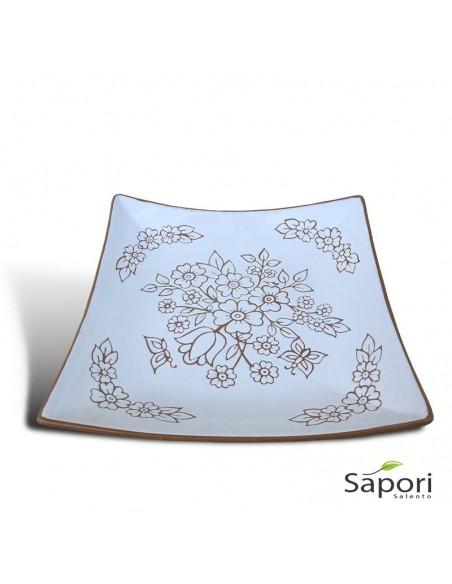 Centrotavola Porta Frutta quadrato stile moderno in Terracotta Artigianale di Sapori Salento
