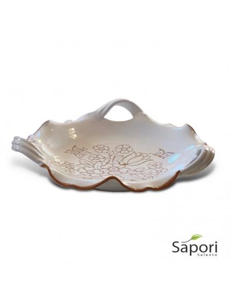 Centrotavola tre manici in Terracotta smalto bianco e decoro a incisione Sapori Salento