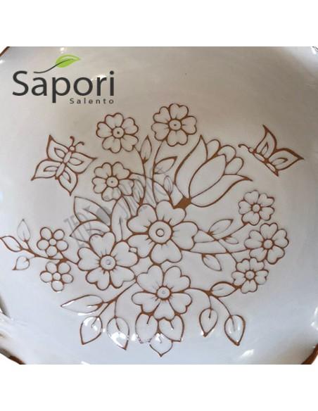 Centrotavola tre manici in Terracotta smalto bianco e decoro a incisione SaporiSalento