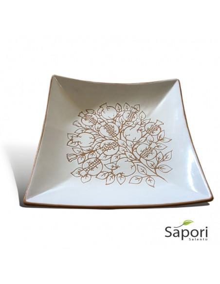Centrotavola Porta Frutta quadrato stile moderno in Terracotta Artigianale Sapori Salento