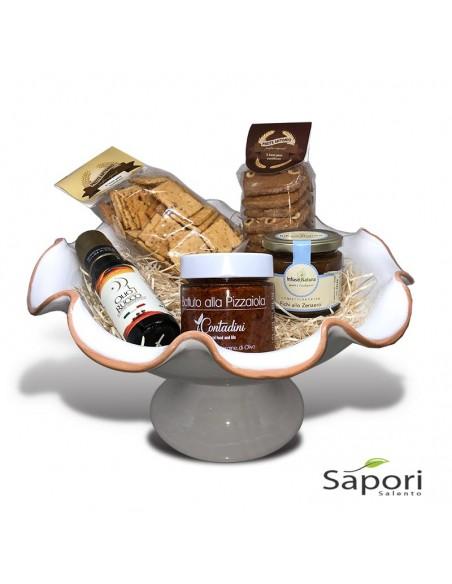 Set Alimini Libeccio prodotti Agroalimentari Salentini e un Centrotavola Porta Frutta alto